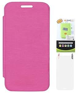 DMG Flip Book Diary Cover Hard Back Case for Motorola Moto G XT1032 (Magenta) + 6600 mAh PowerBank + Matte Screen