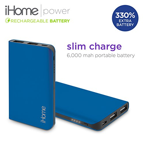 New iHome Slim Charge 6000 mAh Mobile External USB Battery Pack Portable Power Bank / Charger For Cell Phone, iPhone, Galaxy, Android (Blue) (Halo Juice compare prices)