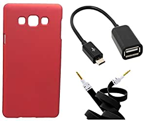 Toppings Hard Case Cover With OTG Cable & Aux Cable For Samsung Galaxy J7 - Red