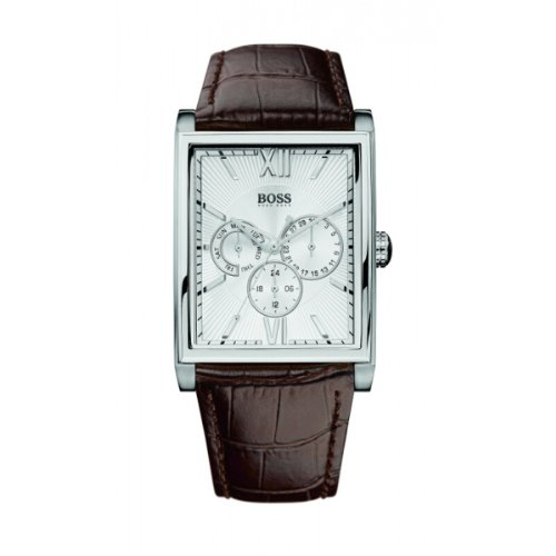 Hugo Boss Men's Quartz Watch with Silver Dial Analogue Display and Brown Leather Strap 1512402