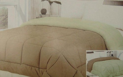 Down Alternative Reversible Taupe/Sage Comforter - 2123-Twin front-909108