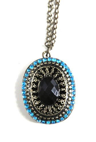 Art Deco vintage tone black jewellery pendant charm long necklace with crystal