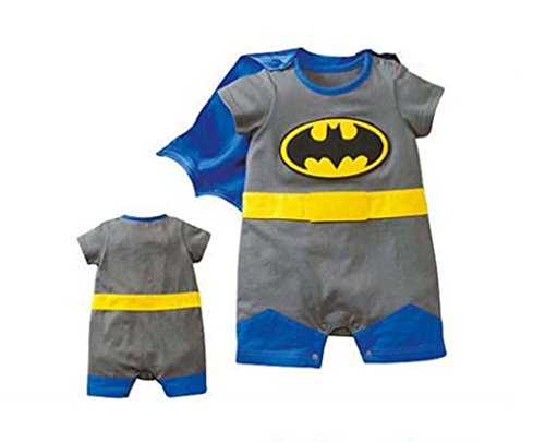 Rush Dance One Piece Super Hero Baby Batman Batbaby Romper Onesie Cape Suit (80 (6-12M), Batman)
