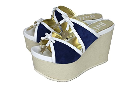 John Galliano, Sandali donna, Blu (blue-white-beige), 35