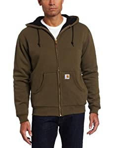 Carhartt Men's Thermal Lined Hooded Zip Front Sweatshirt 149, Army Green, Medium