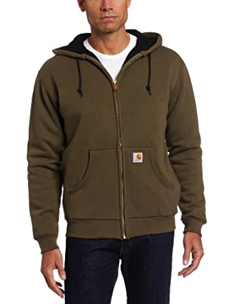 Carhartt Men's Big & Tall Big & Tall Thermal Lined Hooded Zip Front Sweatshirt, Army Green, X-Large Tall