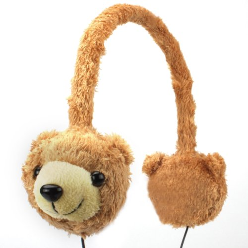Gogroove Kdz Kids Safe Brown Bear Over-Ear Headphones With Volume Limiting Sound - Works With Chromo Inc 7 , Vtech Innotab 3 , Kurio Kids , Dragon Touch 7 Kids Tablets And More!