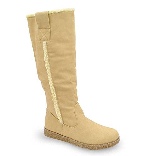 Damen Schuhe wadenhohe Damenstiefel Winterstiefel gefüttert Stiefel beige 37