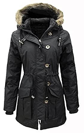 NEW WOMENS Ladies Plus Size Parka MILITARY Quilted HOODED