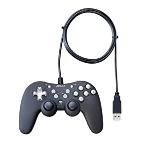 iBUFFALO USB 16ボタンデジ&アナゲームパッド 振動連射マクロ/リマップ機能 ブラック BGCUCF1601BKA