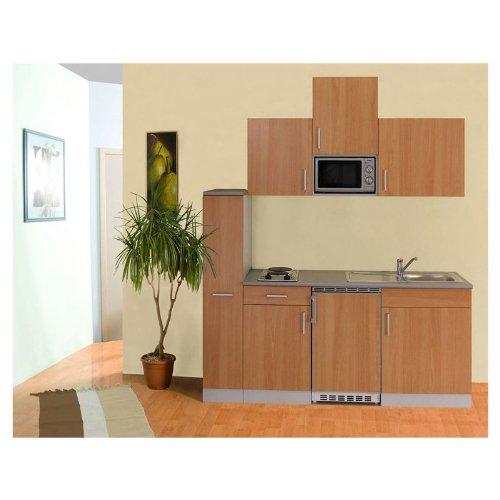 Mebasa Küche, Einbauküche, Miniküche, Küchenzeile 195 Cm In Buche Inkl.  Spülmaschine, Mikrowelle, Kühlschrank, Duo Kochplatte Und Edelstahlspüle