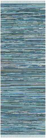 Safavieh Rag Rug Collection RAR121B Hand Woven Blue and Multi Cotton Runner, 2 feet 3 inches by 7 feet (2'3