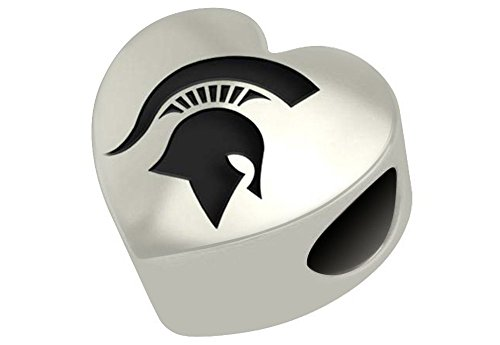 Michigan State Spartans Sterling Silver Heart Bead Fits Most European Style Charm Bracelets