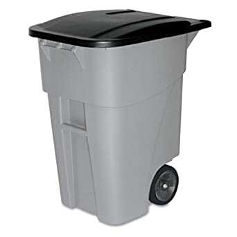 Rubbermaid Commercial FG9W2700GRAY Brute HDPE 50-gallon Rollout Trash Can with Lid, Rectangular, Gray
