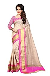 Fabcart Pink And Beige Poly Cotton Saree with Blouse Piece
