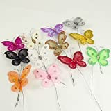 Pack of 10 Glitter Organza Diamante Butterfly Picks Decorations! Craft and Card (Baby Pink)