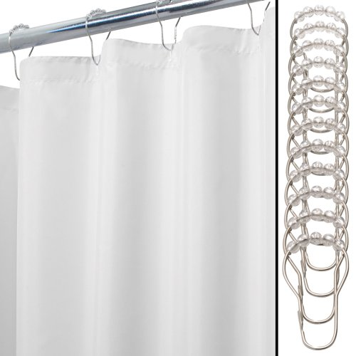 interdesign 13piece waterproof shower curtain liner and ring set white 72inch by 84inch
