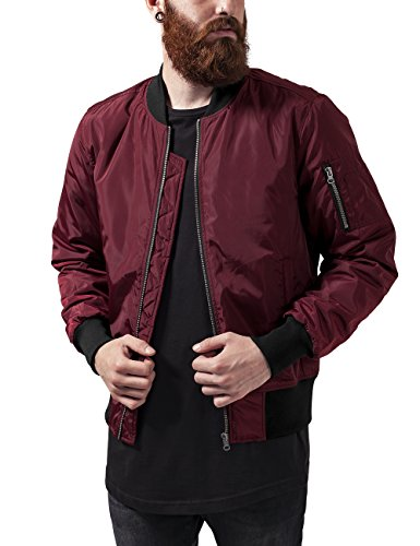 Urban Classics 2-Tone Bomber Jacket, Giacca Uomo, Mehrfarbig (Burgundy/Black 619), Medium