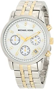 Michael Kors Mk5057 Ladies Watch with Stainless Steel Gold Plated Bracelet and Silver Dial