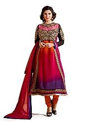 Banorani Women Orange & Rani Color ,Festive,Wedding,Informal Georgette Embroidery & Lace Unstitched Salwar Suit Dress Material