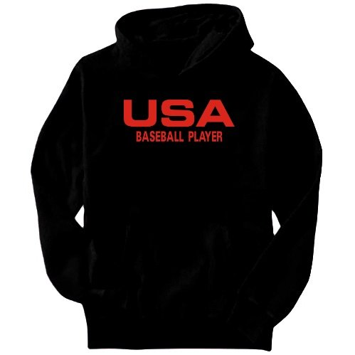 Usa Baseball Player / Athletic America Sports Mens Hoodie (Black, Size Large)