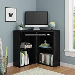 Black Shelves And Storing Corner Desk Made Of Wood Composite Construction With Two Lower Adjustable Shelves And slide out key Board Tray Perfect For Your Home Office