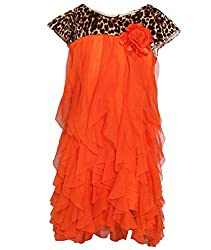 Chipchop Girls' Dress (WFGD0024O_Orange_2-3 Years)