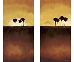 Sunset Palms I & II by Tandi Venter 2-pc Premium Gallery Wrapped Canvas Giclee Art Set (Ready-to-Hang)