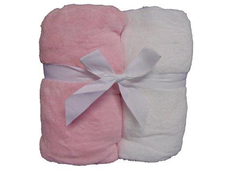 Microplush Crib Sheet Pink/ White front-1036433