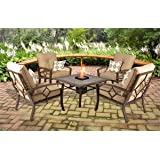 Patio Conversation Set with Fire Pit (Gas), 5 Piece, Seats 4. This Beautiful 5 Piece Conversation Set Make Perfect Outdoor Furniture. This Patio Set with Fire Pit Comes with Deep Seating Chairs.