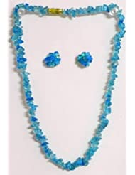 Cyan Stone Bead Necklace And Earrings - Stone Beads