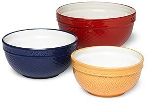 DII Set of 3 Vintage Lattice Ceramic Mixing Bowl, Mixed Sizes