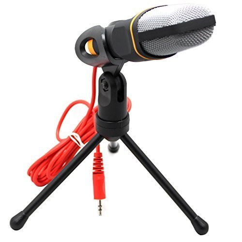 RAYSUN Computer Condenser Microphone - 3.5mm Aux Jack Stereo Plug Studio Condenser Recording Desktop Microphone with 360 Degree Rotation Foldable Tripod Stand for PC Laptop (Fulfilled by Amazon in US) (Computer Condenser Microphone compare prices)