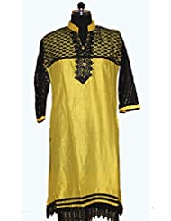 Visaga Women's Cotton Straight Kurti With Net Work - B00UMWG7LC
