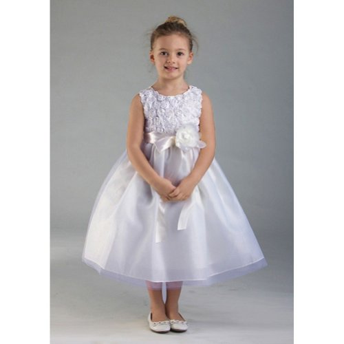 Crayon Kids White Floral Tulle Easter Flower Girl Dress 4T front-867585