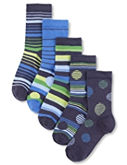 5 Pairs of Autograph Cotton Rich Striped & Lime Spotted Socks
