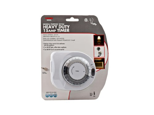 Tork 402A 400A Series Indoor General Purpose Mechanical Heavy Duty 24 hour Timer, Grounded Plug, 15 Minutes