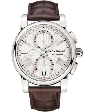 Montblanc Star 4810 Chronograph Automatic Silver Doal Brown Leather Mens Watch 102378
