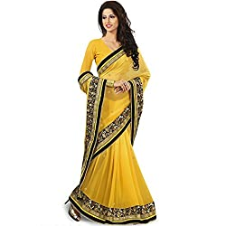 Designer Partywear Sarees fashionable with velvet touch border Saree in Yellow Butter color by vasu saree