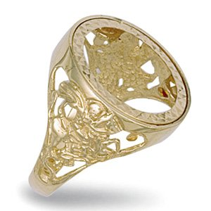 9ct Yellow Gold 21mm George & Dragon Half Sovereign Ring - Q 1/2