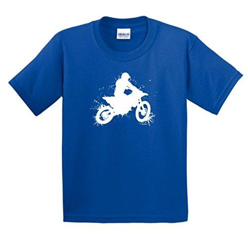 Motocross Mud Splatter Youth T-Shirt Medium Royal