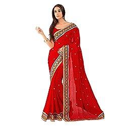 Red With Net With Viscose Designer Lehenga Saree