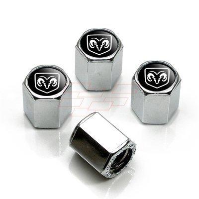 Dodge Ram Black Logo Chrome Tire Stem Valve Caps