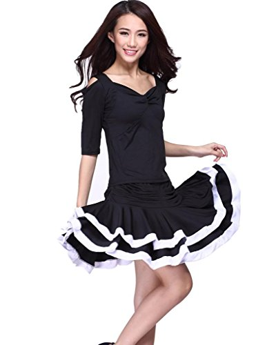 Feimei Women's Latin Dance Costume (Top And Short Skirt) Black