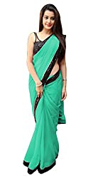 Women's Exclusive Sea Green Georgette Plain Sari with Blouse