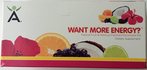 Isagenix Want More Energy? - Tropical Fruit & Hibiscus-Flavored Electrolyte Mix, 24 Sticks X 0.7 Oz (20 G), 16.8 Oz (480 G)
