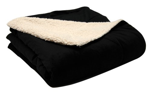 LCM Home Fashions 50-Inch by 60-Inch Micromink/Sherpa Throw