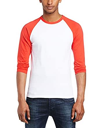 Fruit of the Loom Men's Baseball Raglan Long Sleeve T-Shirt, White/Red, Small