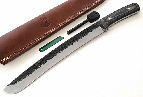 "CFK Cutlery Company IPAK USA Custom Handmade Hammered-Finish D2 Tool Steel Micarta Large 15"" BUG-OUT-BAG Curved Machete Bowie Hunting Knife"