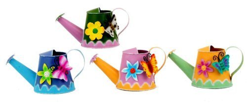 METAL WATERING CAN ORNAMENT 4 COLOURS 9611